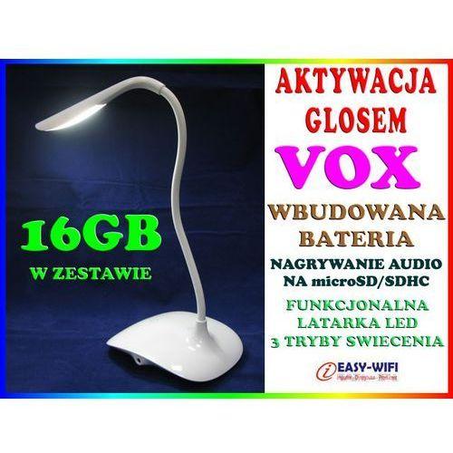 PODSŁUCH GSM W KSZTAŁCIE STOŁOWEJ LAMPKI NOCNEJ AKTYWACJA DŹWIĘKIEM VOX DYKTAFON + KARTA KINGSTON 16GB, marki Sklep Easy-WiFi do zakupu w Sklep Easy-WiFi