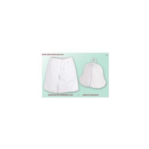 Kilt Ręcznik 50*140cm 100% Bawełna + Czapka biała do sauny A, 7D02-352BC