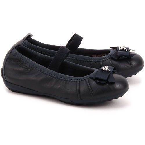 GEOX Junior Piuma Ball - Granatowe Skórzane Baleriny Dziecięce - J52B0B 00043 C4002 ze sklepu MIVO Shoes Shop On-line