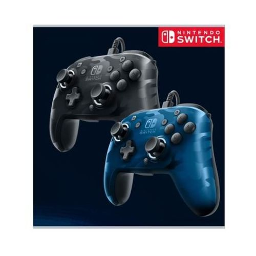 Pdp faceoff deluxe wired pro audio jack camo black/blue - gamepad - nintendo switch