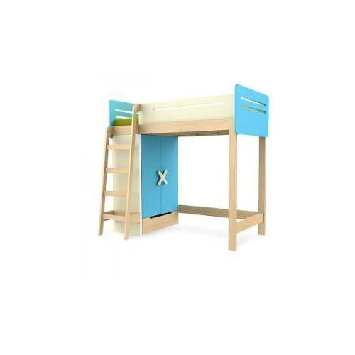 Łóżko piętrowe z szafą prawe/lewe TIMOORE SIMPLE 200/90cm kolor niebieski - oferta [05e4db43338f651b]
