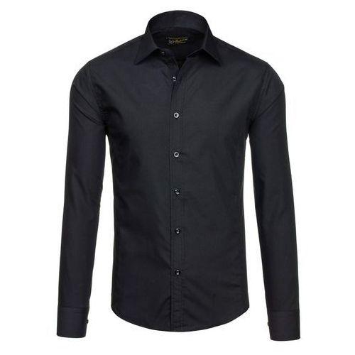 Koszula męska BOLF 1703-2 czarna - CZARNY, kolor czarny