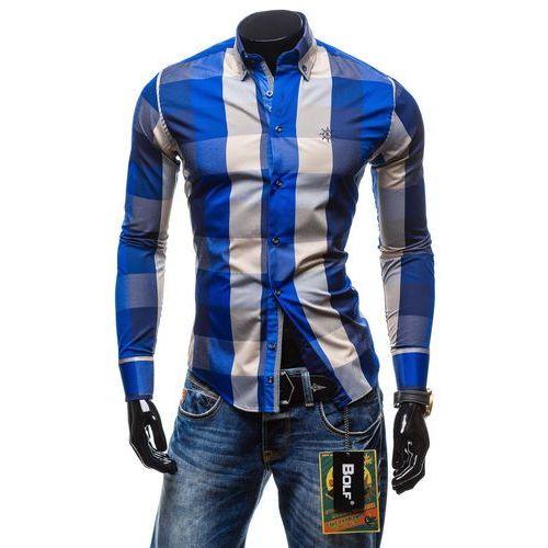 Koszula męska BOLF 4701-2 chabrowa - CHABROWY, kolor niebieski