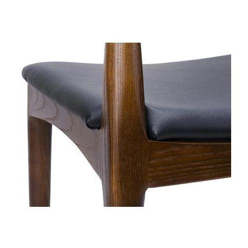 Krzesło elbow ciemnobrązowe - drewno jesion, ekoskóra czarna marki King home