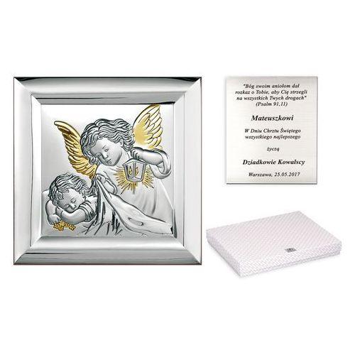 Murrano Obrazek srebrny na chrzciny anioł stróż grawer pr324