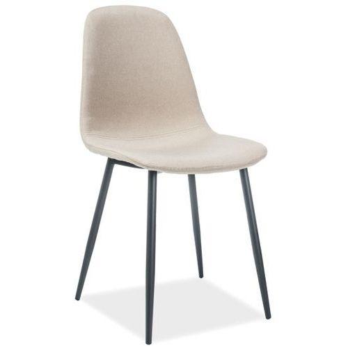Signal Tapicerowane krzesło jadalniane na czarnych nogach fox