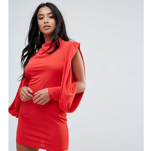 ASOS PETITE Cold Shoulder Drape Sleeve Bodycon Dress - Red