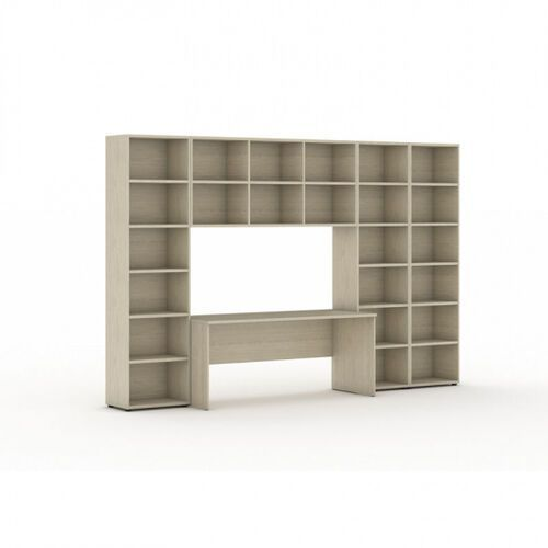 Biblioteka z wbudowanym biurkiem, wysoka/szeroka, 3350x700/400x2300 mm, dąb naturalny