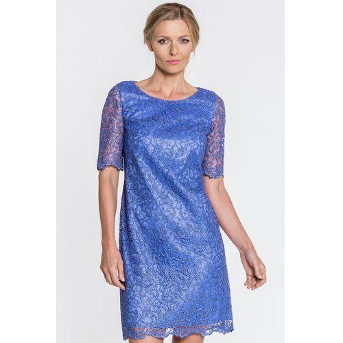 1be3749f5b Niebieska sukienka z koronki - Vito Vergelis