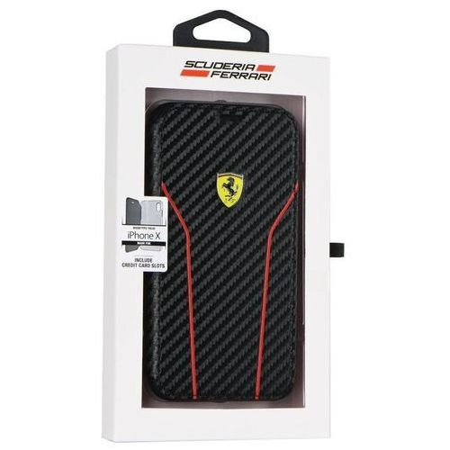 FERRARI RACING CARBON BOOK - Etui iPhone X z Kieszeniami na Karty (czarny) (3700740408858)