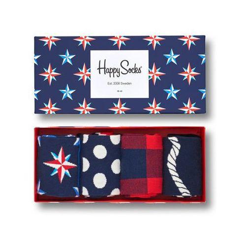 Happy socks giftbox (4-pary) xnau09-6000 - kolorowe skarpety w zestawie - multikolor