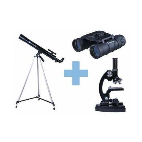 Zestaw Edukacyjny OPTICON: Teleskop Astronomiczny + Mikroskop + Lornetka + DVD + Mapy + Książka...