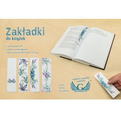 Zakładki do książek komplet 4 szt - kwiatowe - cyfrowy druk uv - zak003 marki Grawernia.pl - grawerowanie i wycinanie laserem