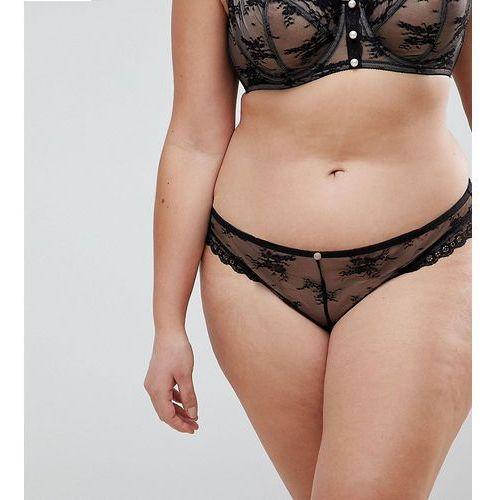 premium pearl & lace brazilian pant - black marki Asos curve