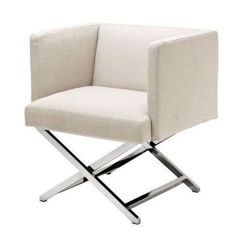 EICHHOLTZ Fotel Dawson beż 68x57 H.74 tkanina stal nierdzewna polerowana - 09106 z kategorii fotele