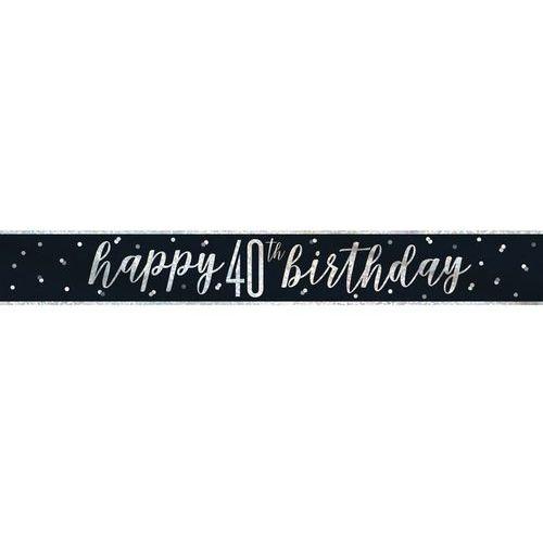 Baner happy birthday czarny na 40 urodziny - 274 cm - 1 szt. marki Unique