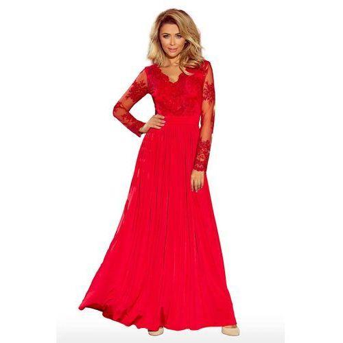 Czerwona Wieczorowa Sukienka Maxi z Koronkową Górą, w 4 rozmiarach