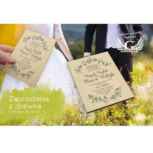 Zaproszenia ślubne z drewna - cyfrowy druk UV - ZAP024