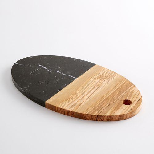 Deska do krojenia z dwóch rodzajów materiału: drewna i czarnego marmuru marki La redoute interieurs