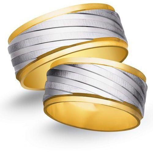 Obrączki ślubne z żółtego i białego złota 9mm - o2k/078 wyprodukowany przez Świat złota