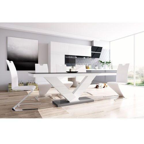 Hubertus design Stół rozkładany victoria szaro-biały wysoki połysk