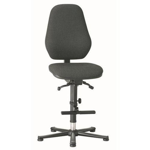 Krzesło do pracy, mechanizm synchroniczny, na ślizgaczach z podnóżkiem, obicie z marki Bimos