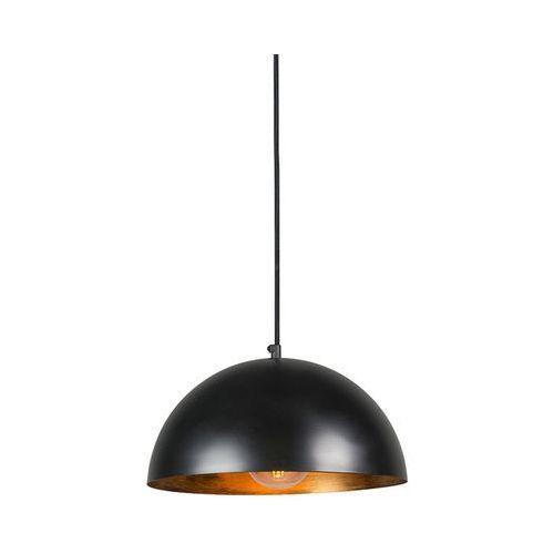 Industrialna lampa wisząca czarna ze złotym wnętrzem 35cm - Magna Eco