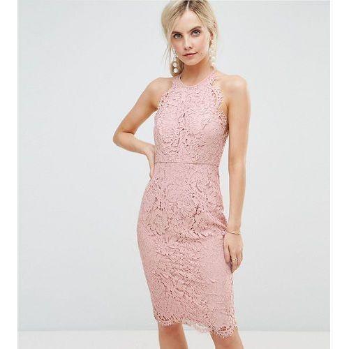 Asos petite scallop pinny lace pencil midi dress - beige