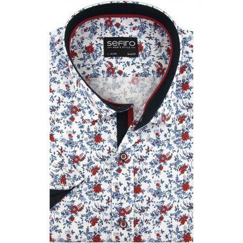 Koszula męska biała w czerwone kwiaty slim fit na krótki rękaw k910 marki Sefiro