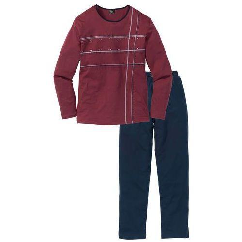 Piżama  ciemnoniebiesko-bordowy marki Bonprix