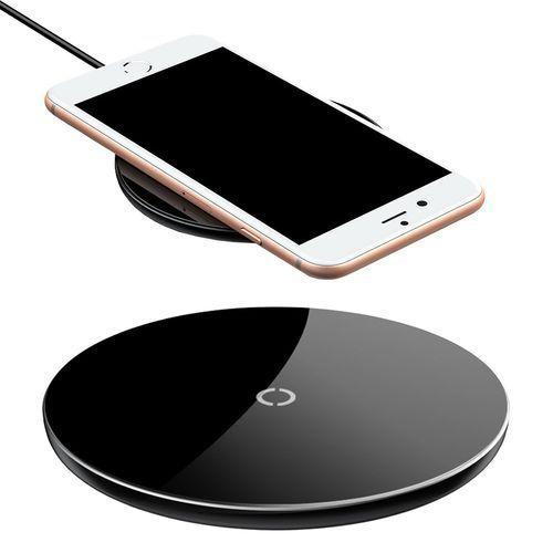 Baseus Simple stylowa bezprzewodowa ładowarka Qi 2A 1.67A 10W z kablem USB / Lightning 1,2M czarny (CCALL-JK01) (6953156272965)