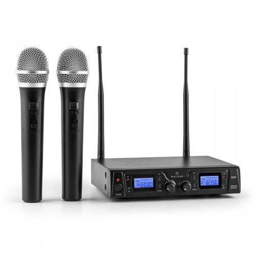 Duett Pro V1 2-kanałowy bezprzewodowy zestaw mikrofonowy UHF zasięg 50m