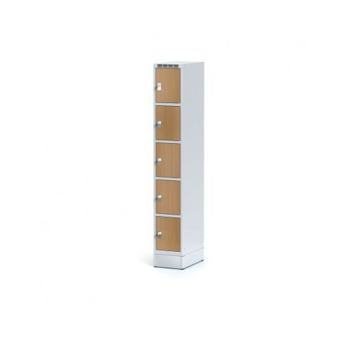 Alfa 3 Szafka ubraniowa 5 drzwi 300x300 mm na cokole, drzwi lpw, buk, zamek cylindryczny