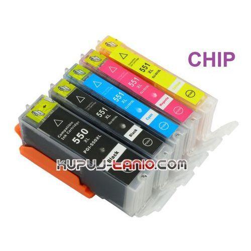 tusze PGI-550BK XL - CLI-551 XL (5 szt z chipami, Celto) do Canon MG5550, MG5450, MG5650, iP7250, MG6450, MG7550 - produkt z kategorii- tusze