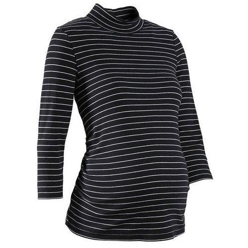 Shirt ciążowy z minigolfem, rękawy 3/4  czarno-biały w paski, Bonprix, 32-54