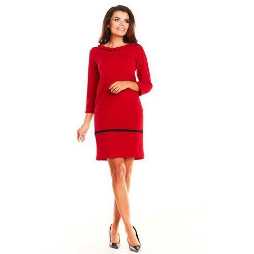 29334796b3 Czerwona Prosta Wizytowa Sukienka z Kołnierzykiem BeBe