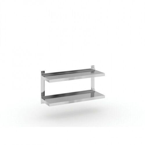 Podwójna półka ze stali nierdzewnej wieszana, 900x300 mm