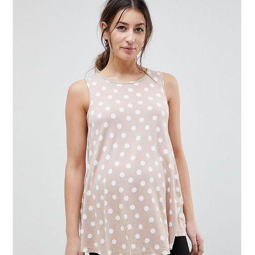 Asos design maternity sleeveless longline swing top in scatter spot print - multi, Asos maternity