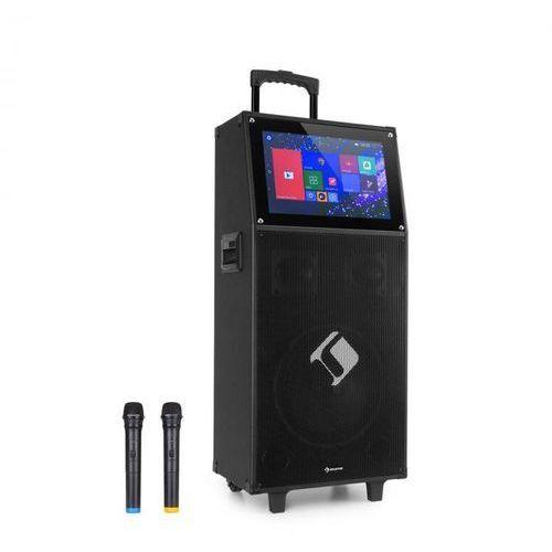 """Auna pro ktv, zestaw karaoke, wyświetlacz dotykowy o przekątnej 39 cm (15,4""""), 2 mikrofony uhf, wi-fi, bluetooth, usb, sd, hdmi, kółka"""