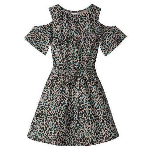 d9a62442c6 Sukienka dziewczęca z wycięciami na ramionach cętki leoparda marki Bonprix  44