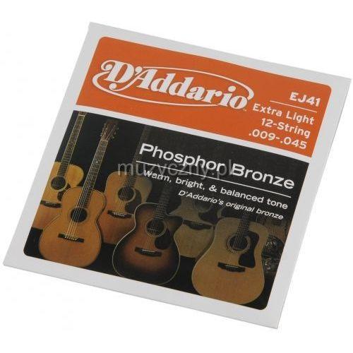 D′addario ej41 struny do gitary akustycznej 12-strunowej phosphor bronze 9-45
