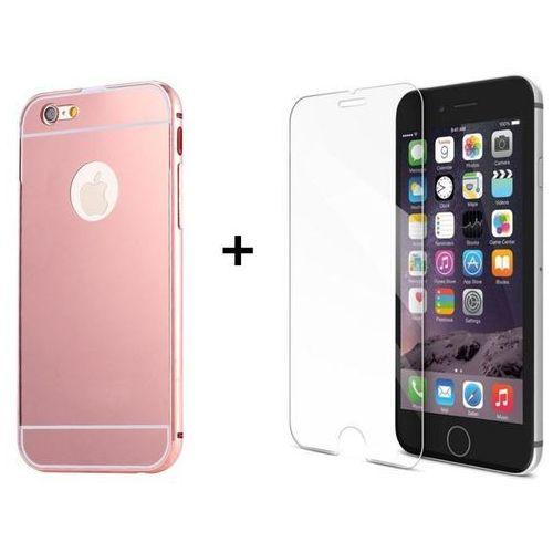 Mirror bumper / perfect glass Zestaw | mirror bumper metal case różowy + szkło ochronne perfect glass | etui dla apple iphone 6 / 6s