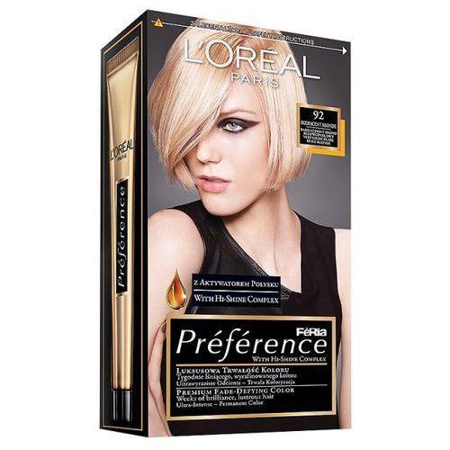 Farba do włosów Feria Preference - 92 Bardzo Jasny Blond Beżowo-Perłowy, L'Oréal