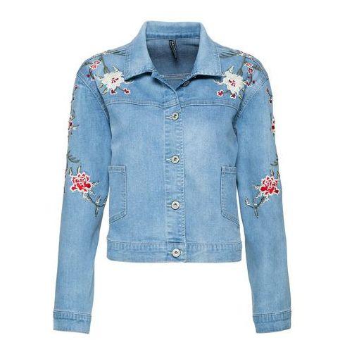 Kurtka dżinsowa z haftem bonprix niebieski bleached, jeans