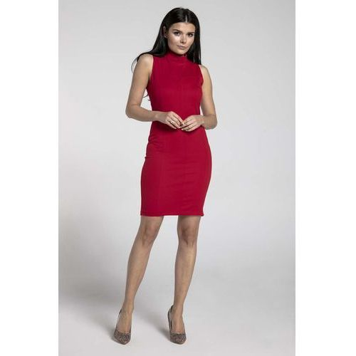 b5de257c1c Czerwona dopasowana krótka sukienka z półgolfem