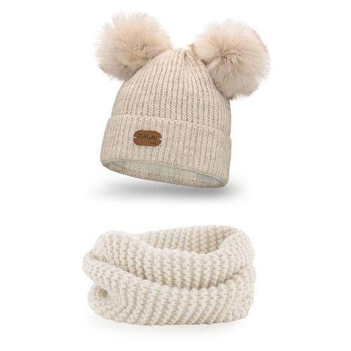 Zimowy komplet dziewczęcy - beżowy - beżowy marki Pamami