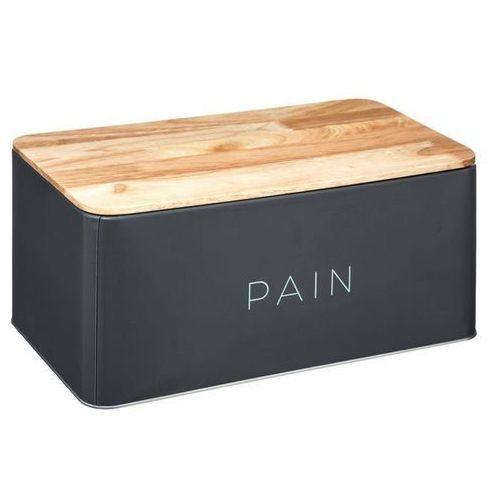 Metalowy chlebak BALTIK z drewnianą deską do krojenia, 2w1 - kolor szary