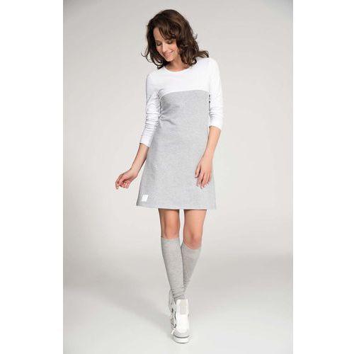 Szaro Biała Sukienka Dresowa z Kimonowym Rękawem, DNU34gywh