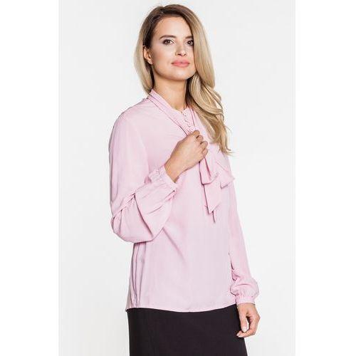 Różowa bluzka z szarfą przy szyi - marki Duet woman
