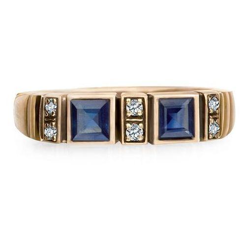 Kolekcja Wiktoriańska - pierścionek z brylantami i szafirami, pierścionek Biżuteria YES
